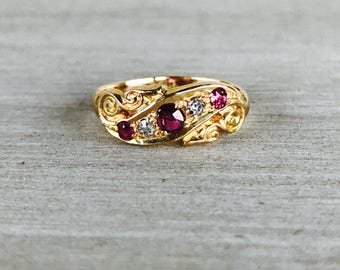 18k yellow gold vintage ruby and diamond ring