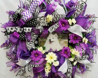 Dog Wreath, Dog Lovers Wreath, Pet Wreath for Front Door, American Eskimo, Mothers Day Gift, Floral Wreath, Spring  Wreath, Samoyed Dog