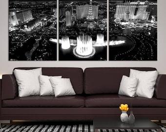 XLarge 3 Panels Las Vegas Wall Art Canvas Print, Black and White Vegas with Water Fountain, Las Vegas Skyline Canvas Print, Interior Decor