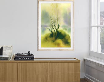 Abstract landscape Green abstract painting Landscape painting Housewarming art Original painting Abstract art print Landscape print Fine art