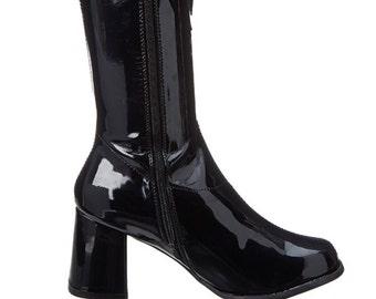Ellie Go-go Boots Black Patent Size 9