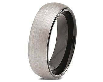 Mens Tungsten Wedding Band Black Plated Inside, Black Tungsten Ring. Promise Ring, Mens Wedding Band, Brushed Surface Comfort Fit 6mm & 8mm