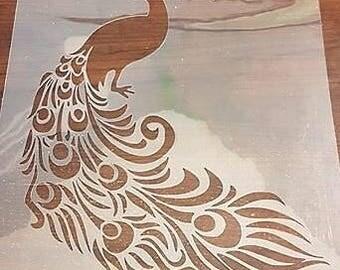 Large Peacock Stencil handcut