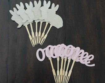 12 some bunny is one birthday cupcake toppers or food picks   Some bunny is one toppers   Some bunny is one theme   Bunny party decorations