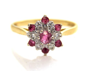 Ruby Cluster Ring, Star Cluster Ring, gold star ring, gold ruby ring, ruby ring, ruby cluster ring, Vintage Cluster Ring, Vintage Ruby Ring