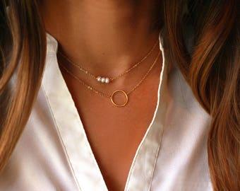 Dainty Layered Circle Necklace | Layered Circle Necklace GOLD | Layered Pearl Necklace | Dainty Pearl Choker Necklace, Layered Luxe Jewelry