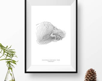 Haleakalā National Park, Hawaii | Topographic Print, Contour Map, Map Art | Home or Office Decor, Gift for Wilderness or Volcano Lover