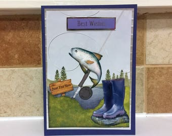 Male Birthday Card - Fish/Fishing - luxury personalised unique quality special bespoke UK - Dad/Son/Uncle/Brother/Nephew