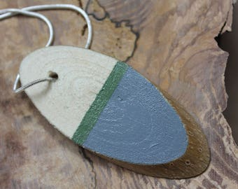 Oval Hand Painted Wooden Necklace