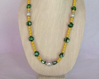 Yellow & Green Necklace Earring Bracelet Set