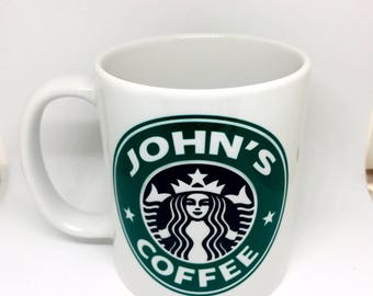 Custom Made Starbucks Style Coffee Mug 11oz or 15oz with your name Personalized