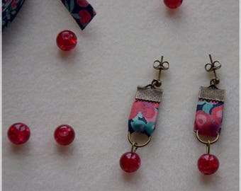 Earrings red liberty and red beads