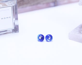 Fused Glass Earrings | Silver Flake | Fused Glass | Sterling Silver Earrings