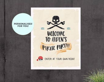Pirate welcome sign, Pirate birthday sign, Pirate party sign, Birthday welcome sign, Pirate printables, Pirate party decorations, Pool party