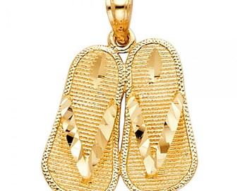 14K Solid Yellow Gold Sandal Pendant - Flip-Flop Shoes Diamond Cut Necklace Charm