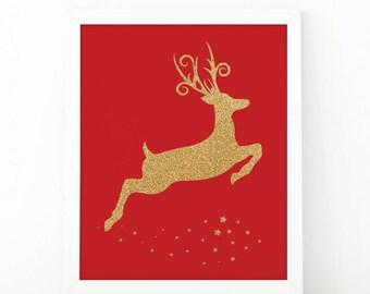 Gold glitter reindeer, Christmas print, Sparkle wall art, Christmas decor, Gold Glitter, christmas, sparkle print, gold deer, Chritsmas deer
