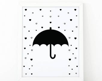 Umbrella, hearts, Rain Art, Black and White, Nursery Wall art, Modern print, digital print, Minimalist Art, Kids Room Decor, illustration
