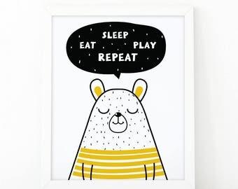 Eat sleep play repeat, Nursery wall art, Nursery Quote art, Nursery decor, kids room decor, nursery printable, Quote print, animal nursery