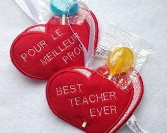 Best Teacher Ever Heart Candy holder - Valentines Day gift for teacher - Felt embroidery ornament - Loot bag filler - Lollipop holder