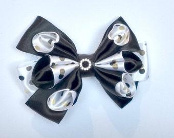Black and Gold Polka Dot Hair Bow