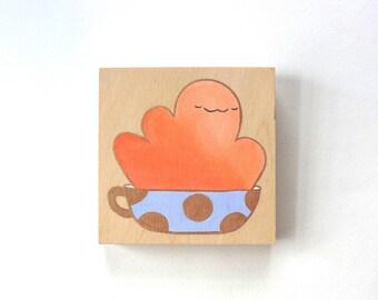 Wood Block Painting - Happy Mug (Orange)