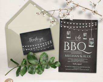 I do BBQ Invitation plus Thank You card, BBQ Bridal Shower, Barbeque Invitation, Editable PDF, Instant Download #PTL1_05_01