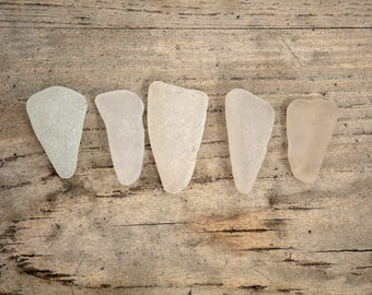 5x FROSTED SEAGLASS SPIKES | Large seaglass triangles | sea glass cabochons | surf tumbled | ocean worn | craft supplies | jewellery making