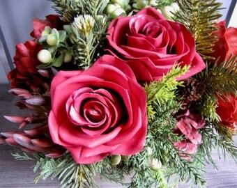 Alpine Fir and Antique Reds Faux Floral Arrangement - Valentine's Day Flowers - Hostess Gift - Birthday Gift - Centerpiece