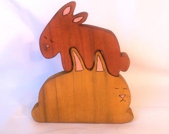 Mama and Baby Bunny Rabbit Stacker Puzzle