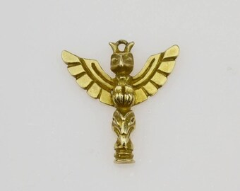 10k Yellow Gold Alaska Totem Pole Pendant(01338)