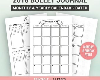 2018 BULLET JOURNAL - printable monthly and yearly calendar - 1 month on 2 pages - sunday & monday start - A5, A4, Us Letter, Half letter