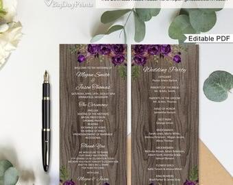 Rustic Wedding Program Template, Ceremony Program Printable, Eggplant  Wedding Program, Boho Chic, #A044, Instant Download, Editable PDF