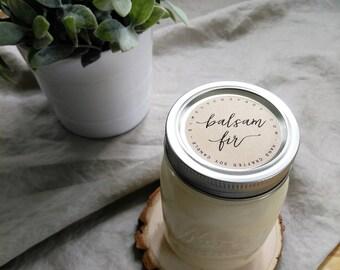 balsam fir - 16 oz mason jar - hand poured soy candle