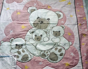 Handcrafted baby quilt - handmade - baby blanket - teddy bear print - pure cotton - washable cotton quilt - hand-stitched - baby gift - cute