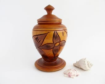 Carved Wood Lidded Vase, Tropical Decor