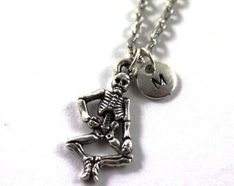 SKELETON charm necklace, silver tone skeleton charm, personalized necklace, initial necklace, personalized jewelry, initial jewelry, gift