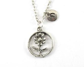 DAISY charm necklace, silver tone daisy flower charm, personalized necklace, initial necklace, initial jewelry, personalized jewelry, gift