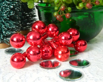 Vintage Red Glass Balls on Wire, Red Glass Christmas Balls, Vintage Christmas Craft Supplies, Red Mercury Balls, Millimeter Balls, Ornament
