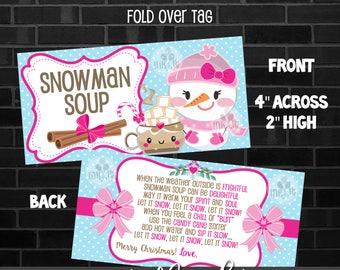 Printable Snowman Soup, Christmas Tag, Christmas Goodybag, INSTANT DOWNLOAD, Digital File