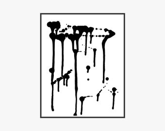 Paint Drip Printable Art Print Black and White B&W Abstract Modern Minimal Gallery Wall Art 6x8 8x10 9x12 11x14 12x16 16x20 Instant Download