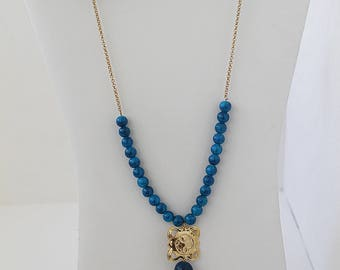 Long Necklace with Blue Agate and Gold-Filled Pendant. FK