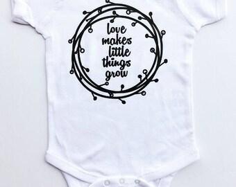 Love Makes Little Things Grow Onesie/Bodysuit