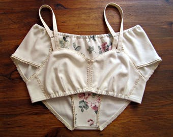 Organic Cotton Cream Lingerie Set with Lace, Floral Lingerie Set, Free Shipping!