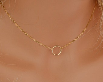 Dainty Circle Necklace Karma Necklace Delicate Gold Filled or Sterling Silver Necklace Eternity Necklace