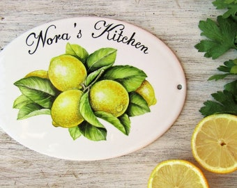 Lemon Kitchen Sign Personalized Kitchen Sign Kitchen Wall Sign Kitchen Door Sign