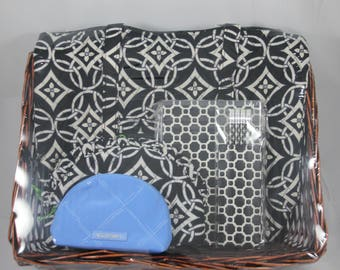 Vera Bradley Gift Set with Shoulder Bag Concerto, Journal Pencil Set Midnight Geometric, Ruffle Cosmetic Concerto, Cosmetic Mini Blue