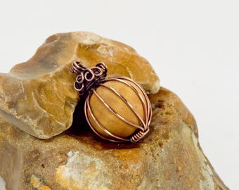 Scented Wood Aromatherapy Necklace, natural healing jewellery, essential oils diffuser pendant, copper wire wrapped handmade jewelry, gift