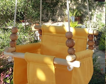 High Back Baby Swing in Sunflower, Toddler Swing, Nursery Swing, Porch Swing, Indoor Swing, Outdoor Swing, Canvas Swing, One Year Old