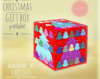 Christmas gift boxes, DIY, printable, Christmas tree, Holiday gift boxes, Christmas art,diy holiday decor, box, gift box, red