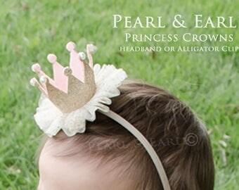 Princess Crown Headband, Birthday Crown Headband, Glitter Crown, Gold Crown First Birthday, Birthday Crown Baby, Gold Princess Crown, Gold